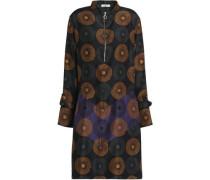 Printed ruffle-trimmed silk dress