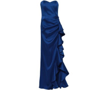 Ruffled Duchesse Satin-twill Gown Royal Blue Size 12