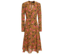 Wrap-effect Floral-print Silk Crepe De Chine Midi Dress Light Brown