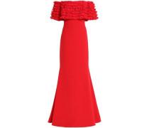 Off-the-shoulder appliquéd crepe gown