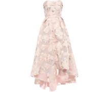 Strapless Asymmetric Metallic Fil Coupé Gown Pastel Pink