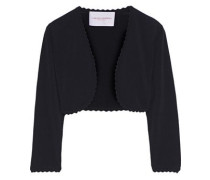 Woman Scalloped Stretch-knit Bolero Black