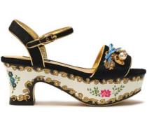 Embellished metallic-trimmed velvet platform sandals