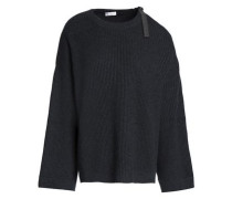 Cutout bead-embellished ribbed cashmere sweater