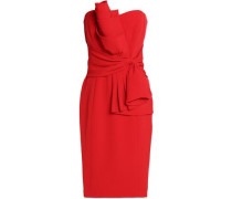 Strapless gathered crepe dress