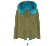Shearling-trimmed Cotton-gabardine Coat Army Green