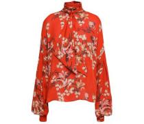 Tie-neck Floral-print Silk Blouse Brick