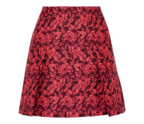 Calista pleated neon floral-jacquard mini skirt