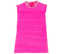 Pintucked Embellished Silk-georgette Top Bright Pink