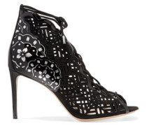 Laser-cut Nubuck And Patent-leather Sandals Black