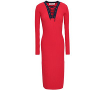 Lace-up Ribbed-knit Midi Dress Red