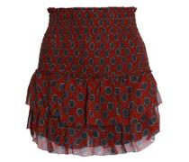 Smocked printed silk-georgette mini skirt