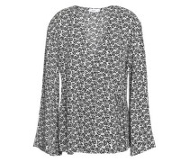 Ray Printed Silk-crepe Wrap Top Gray