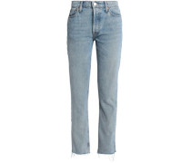 The Crawford Frayed Mid-rise Straight-leg Jeans Mid Denim  3