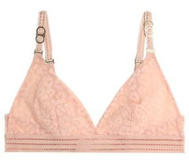 Flocked Tulle Triangle Bra Peach
