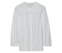 Painted Stripes Printed Stretch-modal Pajama Top Sky Blue
