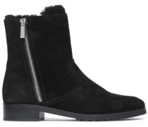 Faux fur-lined suede ankle boots