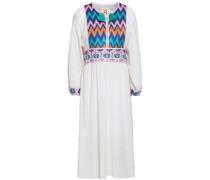Violeta Embroidered Cotton-gauze Midi Dress White
