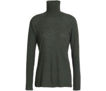 Ribbed Wool And Cotton-blend Turtleneck Top Army Green