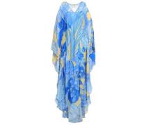 Cold-shoulder Printed Silk-georgette Maxi Dress Azure