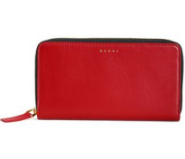 Woman Leather Continental Wallet Crimson