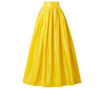Flared Pleated Silk-taffeta Maxi Skirt Yellow