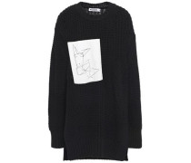 Paneled Embroidered Canvas Cotton Sweater Black