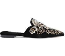 Woman Urtin Embellished Velvet Slippers Black