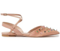 Woman Leather And Crystal-embellished Satin Point-toe Flats Neutral