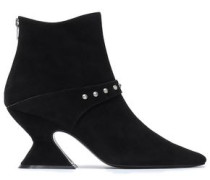 Studded Suede Ankle Boots Black