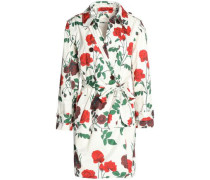 Floral-print shell trench coat