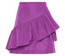 Woman Ruffled Shell Mini Skirt Violet