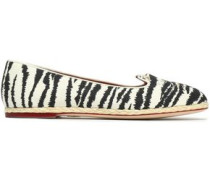 Embroidered zebra-print canvas espadrilles