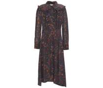 Alina Floral-print Crepe De Chine Midi Dress Charcoal
