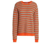 Metallic cotton-blend jacquard-knit sweater