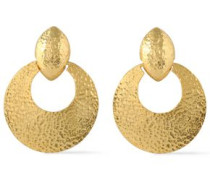 Hammered gold-tone clip earrings