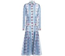 Floral-print silk-organza midi shirt dress