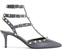 Woman Rockstud Textured-leather Pumps Storm Blue