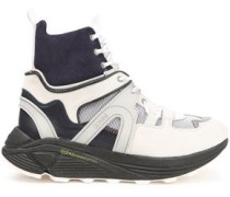 Woman Suede, Leather And Rubber High-top Sneakers Off-white