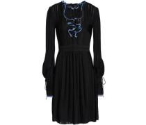 Tie-front ruffle-trimmed crochet-knit mini dress