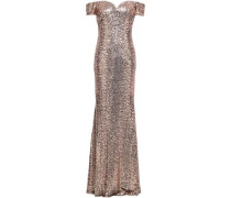Off-the-shoulder Sequined Tulle Gown Blush Size 0