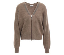Bead-embellished Ribbed Cashmere Cardigan Brown