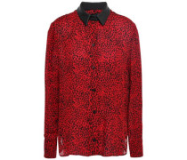 Leather-trimmed Leopard-print Silk-crepe Shirt Red
