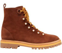 Woman Hiker Embellished Suede Ankle Boots Brown
