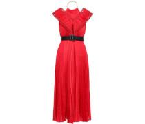 Cutout Embellished Satin Midi Dress Red