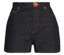Embellished stretch-denim high-rise shorts