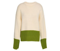 Two-tone Wool Sweater Cream