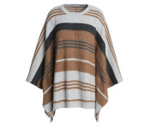 Striped ribbed wool, cashmere and silk-blend poncho