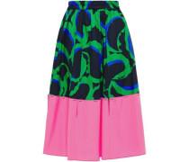 Woman Cutout Printed Cotton-poplin Skirt Midnight Blue