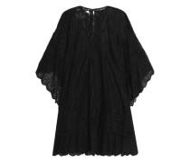 Draped Broderie Anglaise Cotton-blend Mini Dress Black